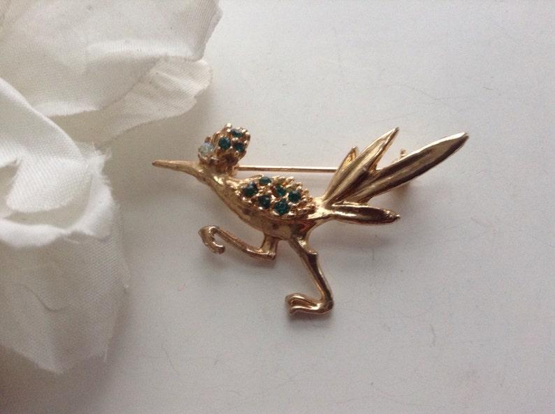 e605520a6c1 Rhinestone Roadrunner Pin Brooch Emerald AB Eye   Etsy