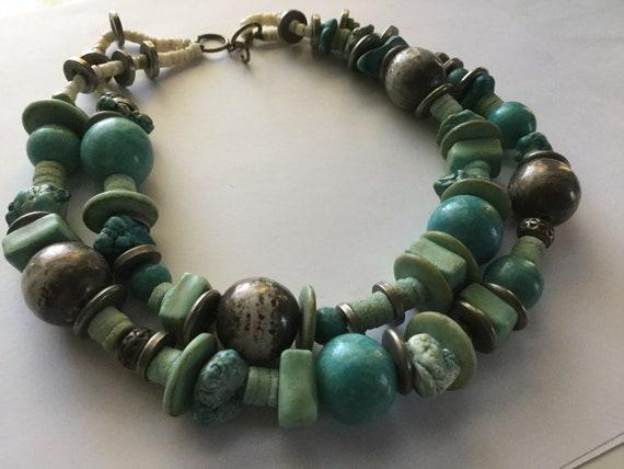 leaf pendant gold hippie boho chic amazonite gemstone semi precious stones