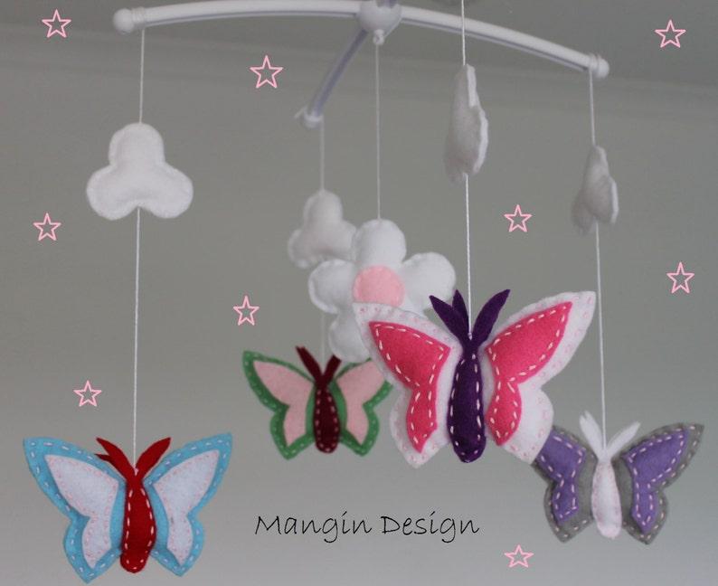 Ausverkauf!!! Mobile musikalische Kinderbett mobile Schmetterling rosa weiß  grau lila Schmetterling