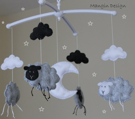 SALE!!! Grey sheep mobile baby felt decorations sheep baby nursery decor  moon clouds music box musical mobile crib arm