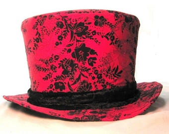 fea923f6b5b72 Red and Black Top Hat Mad Hatter Tea Party Hat Wearable Art Vintage Sparkle  Print Boho Chic Millinery Festival Top Hat Gift for Musician Fun