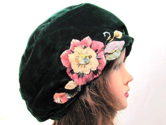 49849e6bbacc4 Green Velvet Hat Emerald Green Beret Flower Hat Spring Beret