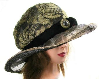 Black Summer Hat, Black and Gold Hat, Hat With Button, Tea Party Hat, Formal Occasion, Garden Party Hat, Bling, Southern Belle, Rock Star