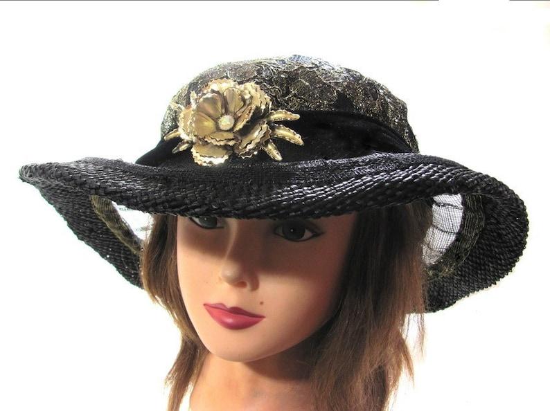 f23a775e Black Designer Brim Hat Gold Rose Brooch Glitzy Bling Race Day | Etsy