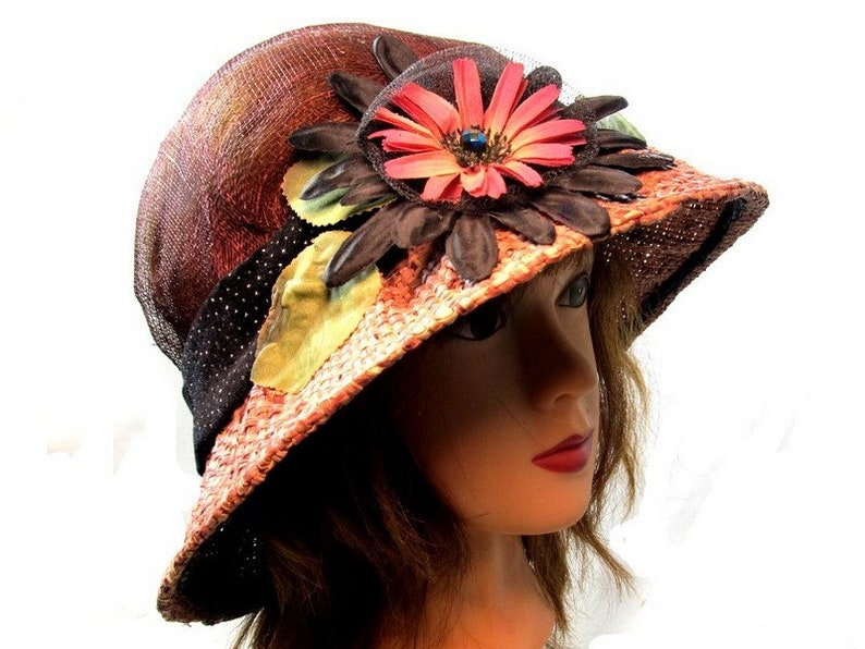 f00725bef19 Summer Cloche Hat Gift Mother Raffia Brim Collapsable Fun