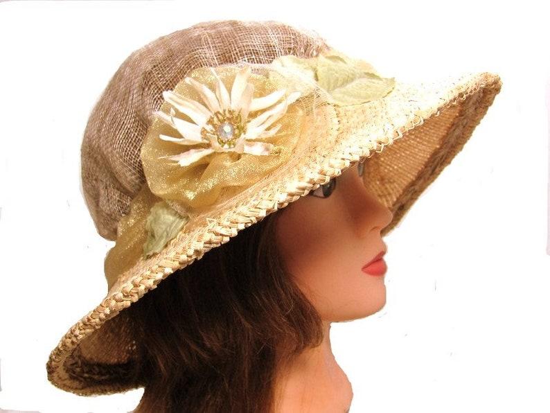 290a6eb6 Country Wedding Hat Ladies Tea Summer Brim Hat Womens Natural | Etsy