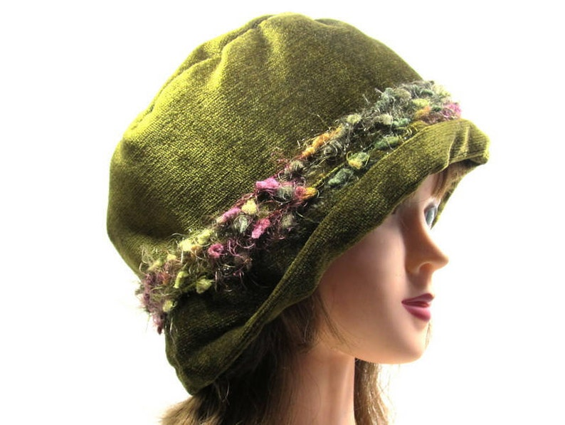 edbfbee7113 Olive Green Bucket Hat Warm Ears Hat Green and Pink Ladies