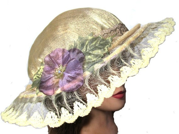 Fun Spring Style Hat Country Wedding Colorful Gift Purple Flower Hat Bridal Lace Hat Antique Lace Tea Party Fedora Yellow Brim Hat