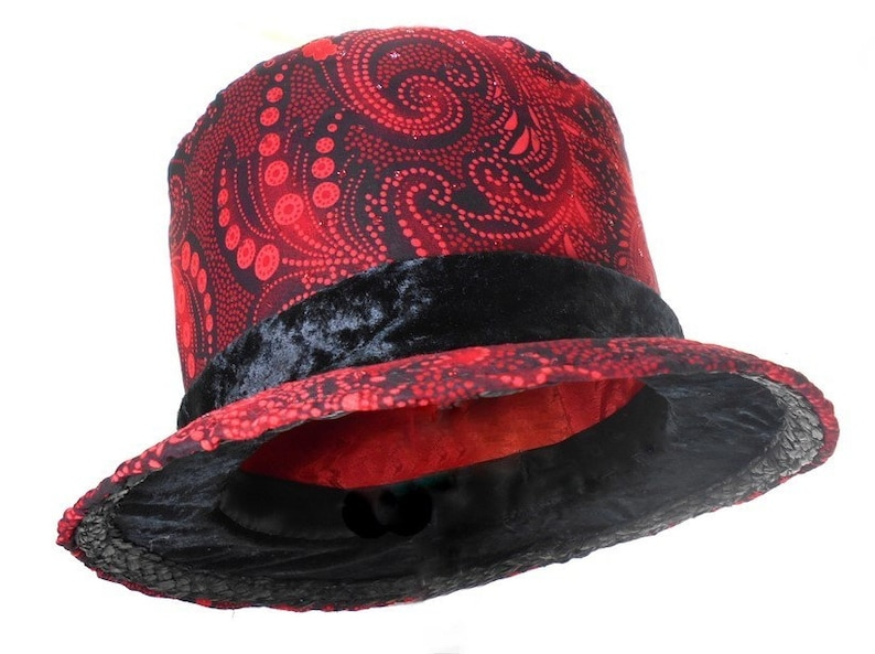 50872664321 Valentine Gift for Him Red Paisley Black Paisley Top Hat