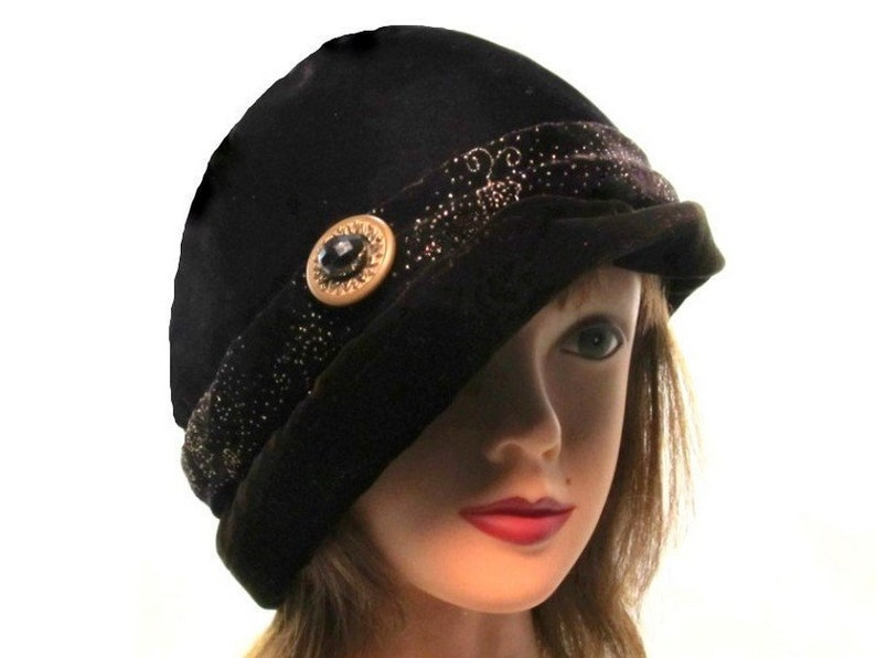 Black Brown Velvet Hat Slouchy Bucket Hat Warm Winter Cloche  06e5861126d8