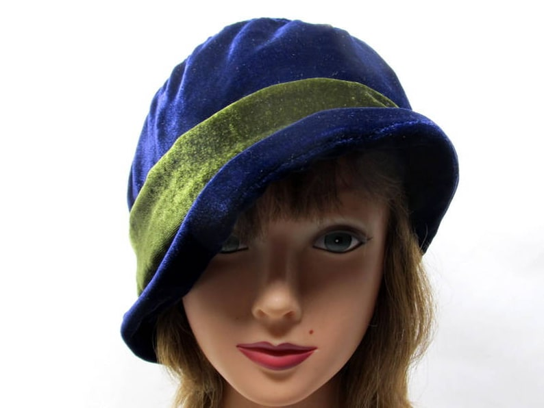 Mothers Day Gift Blue Cloche Senior Gift Mother Bride Hat Navy Blue Hat Slouchy Brim Hat Soft Hat Something Blue Large Size Hat,
