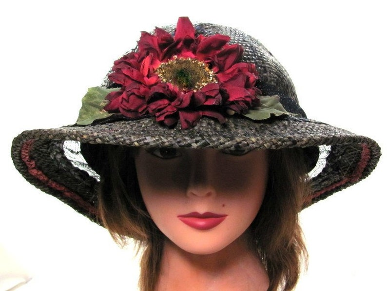 2fb47ed5aa273 Black Tea Party Sun Hat Big Red Sunflower Hat Ladies Straw