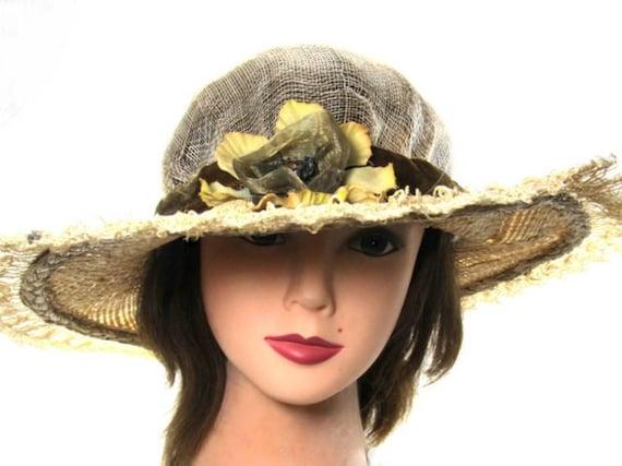 Big Sun Hat Wide Brimmed Shade Hat Raffia Hat Ladies Tea  c7761e5461e2