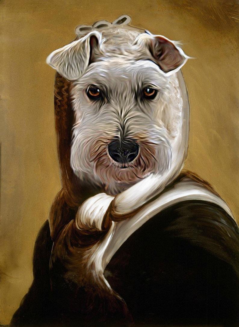 Pet Portrait Martha Washington painting using your Pet/'s Photo Renaissance Pet DogCat Portraits