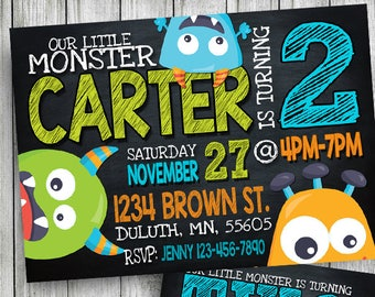 monster invitation, monster birthday invitation, monster party invitation, monster birthday, chalkboard invitation, personalized, printable