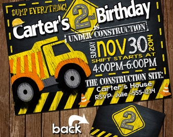 Construction birthday invitation, Construction birthday party, Chalkboard Construction party,Dumptruck Invitation, chalkboard dumptruck