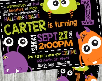 halloween monster birthday invitation, monster invitation, halloween party invitation, monster birthday, chalkboard, personalized, costume