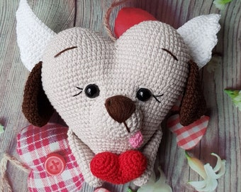 Hand Crocheted Heart Dog