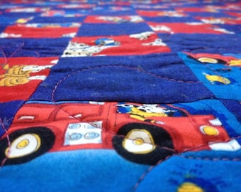 Firefighting Dalmations Baby Quilt in Red and Royal Blue