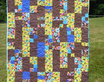 Bright Floral Girls Baby Quilt in Browns, Greens, and Blues