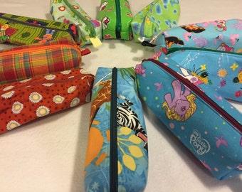 Small Zipper Pencil or Toiletries Tote: Elmo, Tinkerbell, Spider, Dora, Sesame Street, My Little Pony, Madagascar