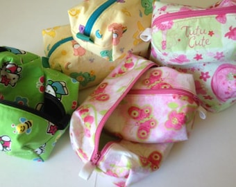 Assorted Sized Zipper Totes with Washable Lining: carebears, hello kitty, strawberry shortcake