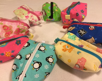 Assorted Sized Zipper Totes with Washable Lining: Penguin, Snoopy, Pooh Bear, Floral