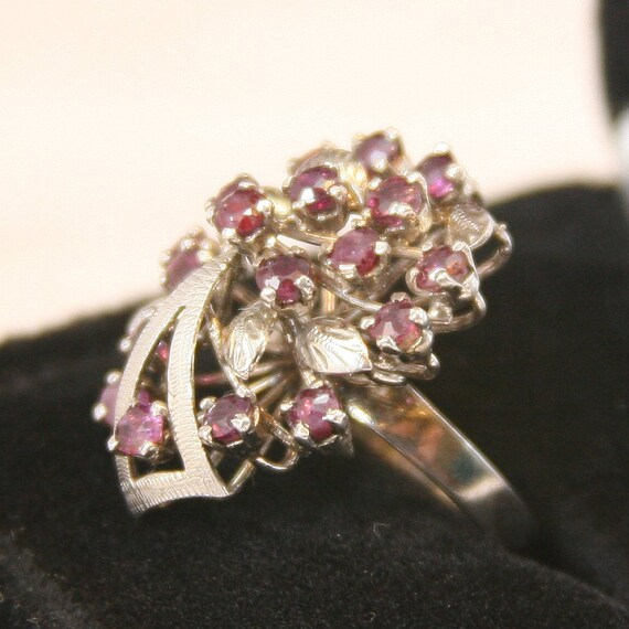 Vintage Sterling Silver Ring 925 Cluster Ruby Ring - image 2