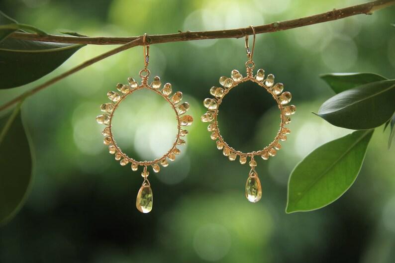 Citrine Hoop Earrings w Gold Fill ~ handmade on Kaua/'i ~ one of a kind ~ designer jewelry