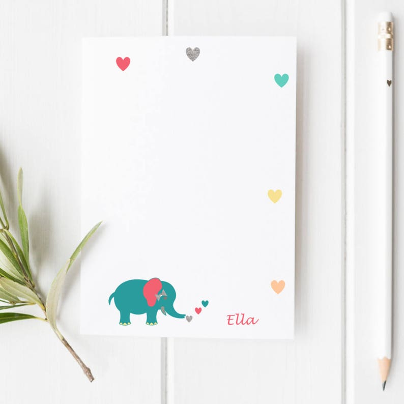 Kids Personalized Stationery | Elephant and Hearts Personalized Stationery  | Kids Letter Writing | Penpal Set | Kids Stationery