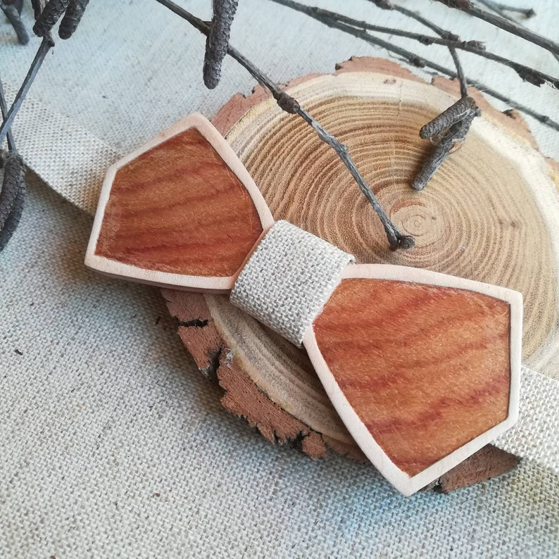 Rosewood bow tie or unique padouk magnifying glass handmade Bois de rose