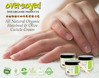 Hazelnut & Olive Cuticle Cream - Eco Vegan Friendly Spa Salon Quality - Lavender and Lemon Fragrance - OverSoyed All Natural Skin Nail Care
