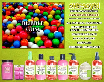 Bubble Gum  Natural Product Collection - OverSoyed Organic Soy Candle, Wash, Gel, Spray, Balm, Lotion, Mousse, Powder