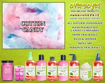 Cotton Candy  Natural Product Collection - OverSoyed Organic Soy Candle, Wash, Gel, Spray, Balm, Lotion, Mousse, Powder