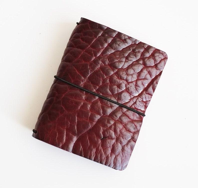 6-7 oz Black Cherry Bison  Leather journal covers  Shrunken image 0