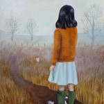 Sunday Moor Walk, 8x10 inch original oil painting on wood panel, autumn, fall, sweater, fog, countryside, nature, girl, cat, key, brown