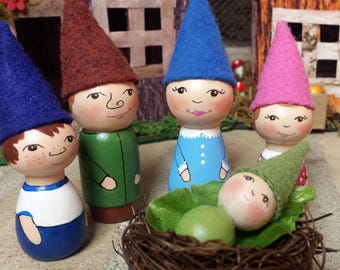 Hand-painted Gnome Peg Doll Family