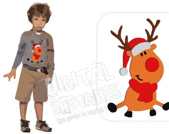 Deer Reindeer Machine Embroidery Design Santa Claus 3 Sizes