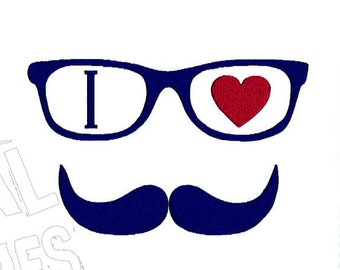 I Love Mustache Saying Machine Embroidery Design 3 Sizes