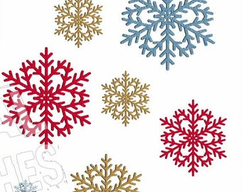Snowflake Star Machine Embroidery Design 4 Sizes