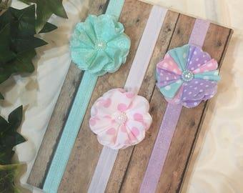 Handmade Headbands for Babies, Newborn Girl Headbands and Bows, Baby Girl Headbands Set, Infant Girl Flower Headbands, Baby Bows, Headbands