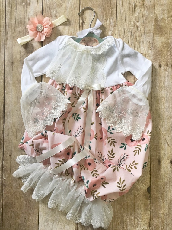 fa5117ea1133 Blush pink floral baby gown newborn girl layette coming home