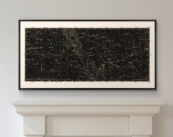 Star Map Print, Constellations Chart Print, Antique Large Horizontal Art Print, Masculine Home Decor, Star Chart Print, Wedding Decor