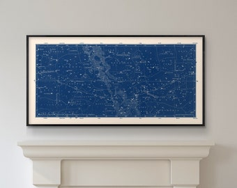 Star Map Print, Blue Star Map, Southern Constellations Chart Print, Blue Constellation Celestial Map, Large Horizontal Art for living room