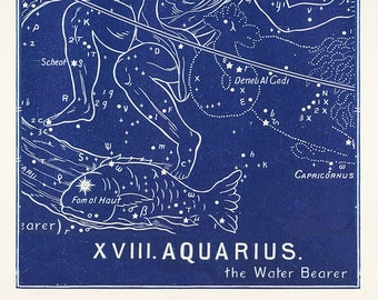 Zodiac constellation Aquarius, Zodiac Print, Antique Vintage Astrological sign in Black, Blue or Slate, Gift for Aquarius, Birthday Gift