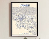 Los Angeles map print map of Los Angeles print Los Angeles city poster Los Angeles Wall Decor Map of Los Angeles LA Map print