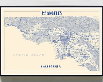 Map Of California La.Los Angeles Map Etsy