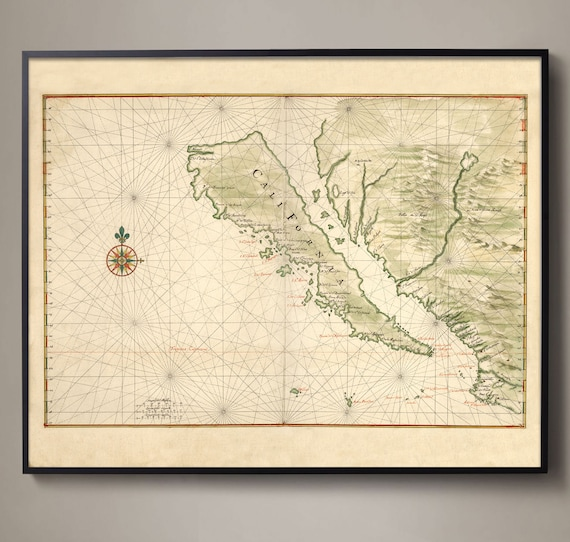 California Map Antique Map Of California California Island Etsy