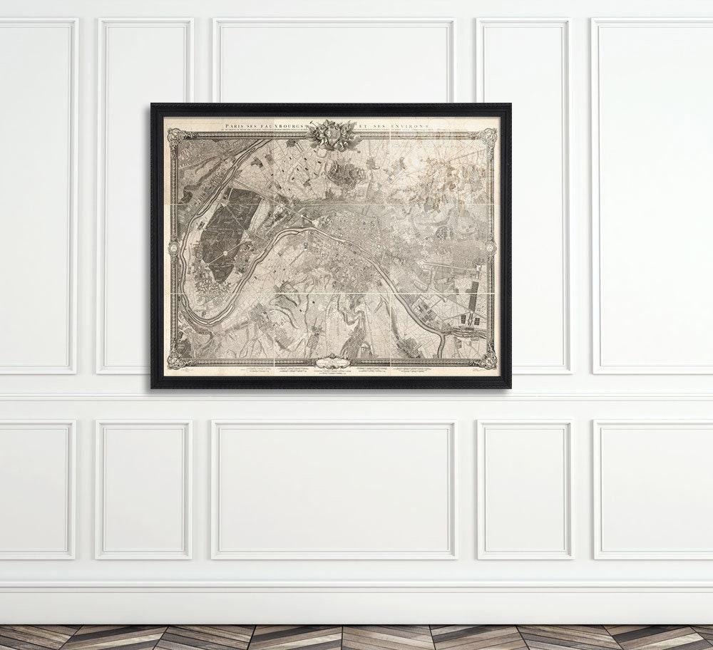 Niedlich Vintage Paris Karte Eingerahmt Bilder - Benutzerdefinierte ...