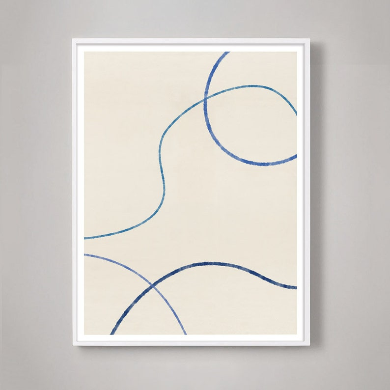 Scandinavian Mid-Century Modern Abstract wall art for Danish Modern Nordic Minimal home decor Minimalist Abstract Line Drawing in blue